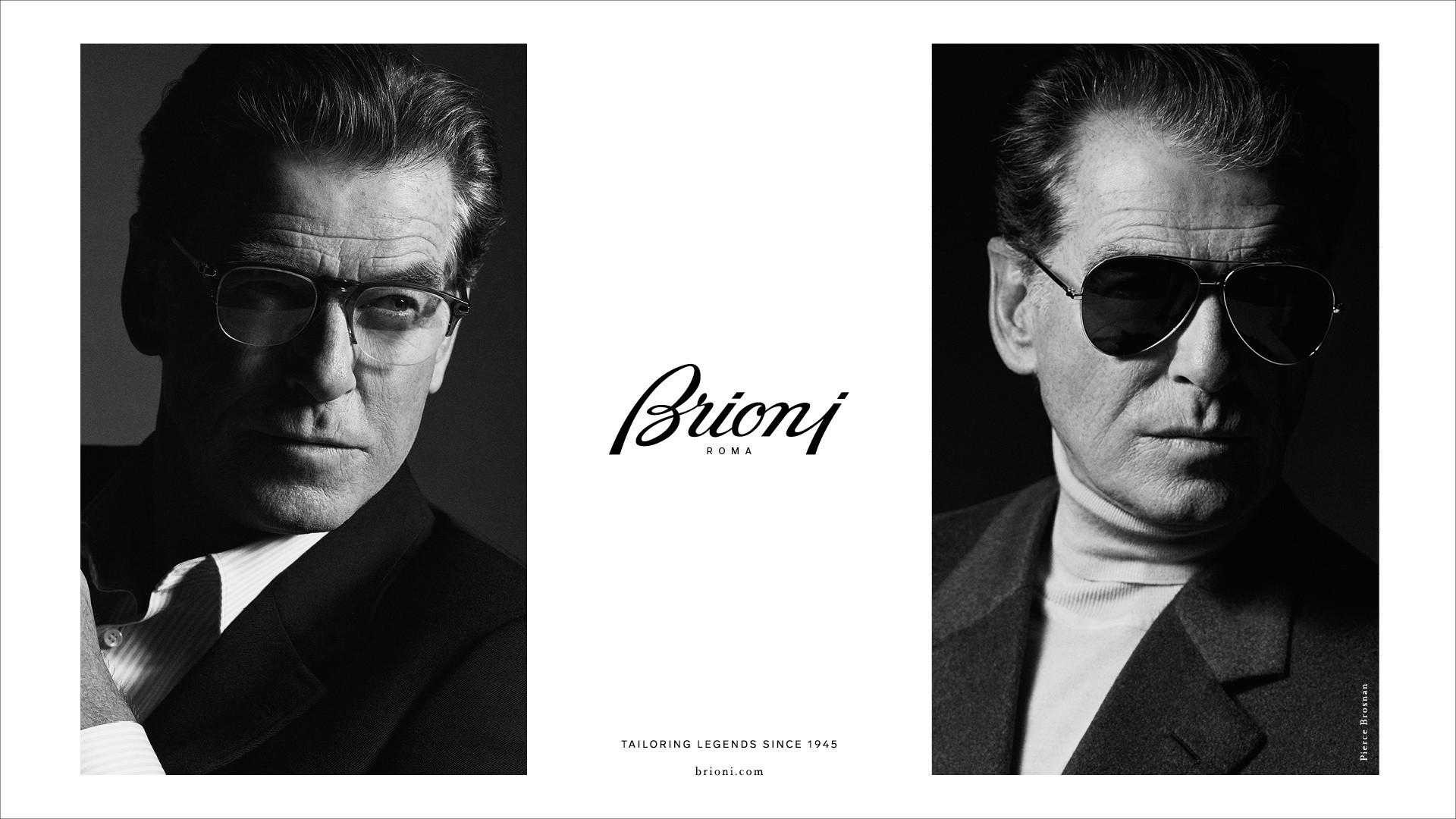 Rechts und links jeweils ein schwarz-weiß Bild von einem Mann mit Brioni Eyewear und in der Mitte das Brioni Logo.