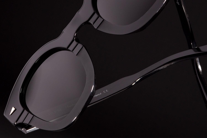 Detailaufnahme von einer schwarzen Ahlem Sonnenbrille.