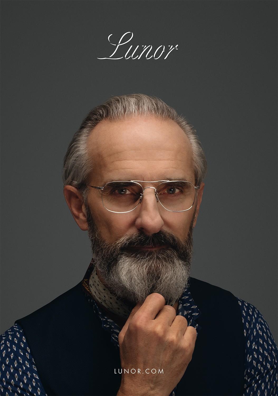 Nahaufnahme von einem älteren Male Model mit Bart, das eine Lunor Korrekturbrille trägt.