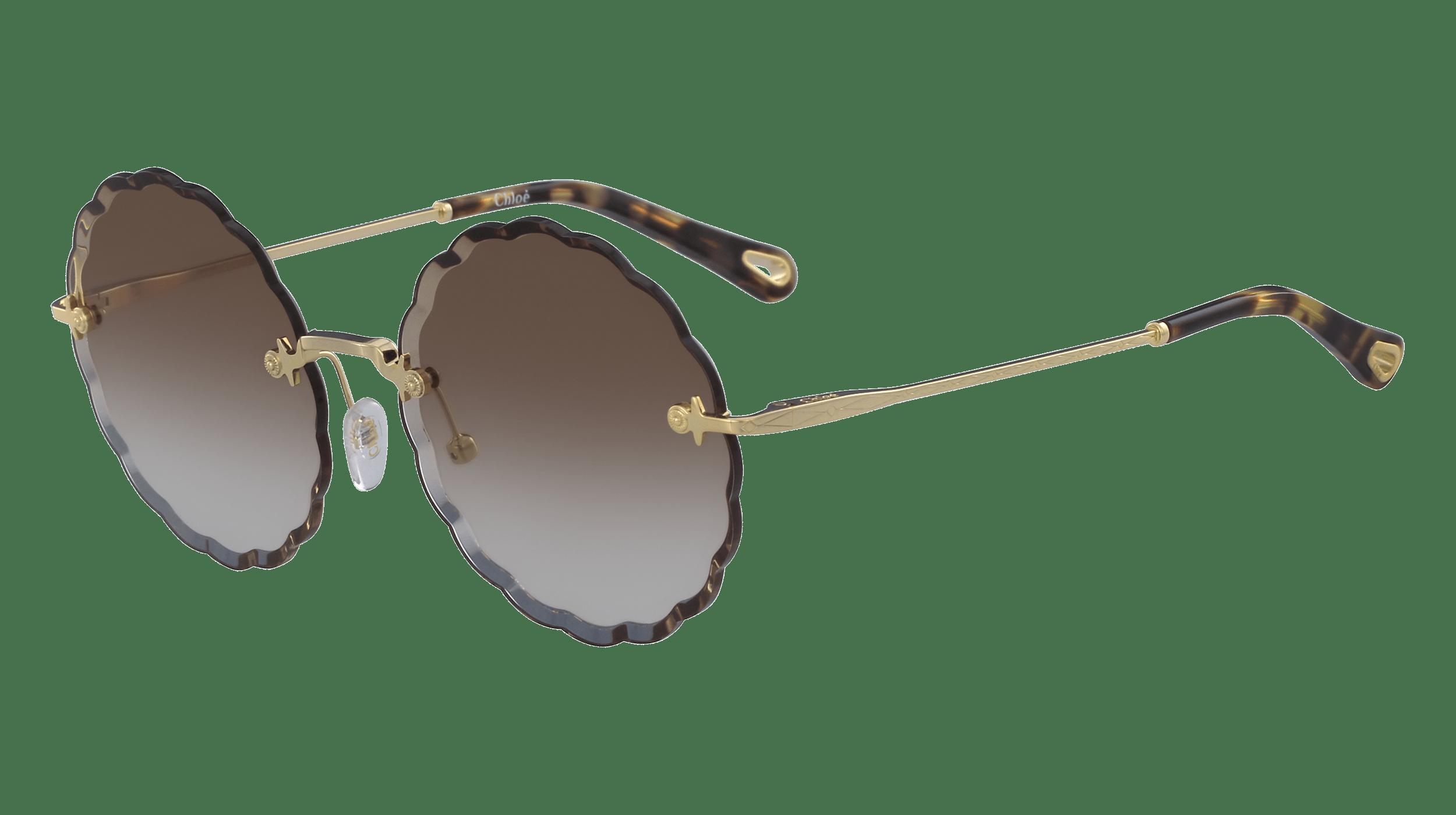 Runde Sonnenbrille von Cloé mit dunklen Applikationen am Rahmen, braun getönten Brillengläsern und goldenen Bügeln mit braunen Details am Bügelende.