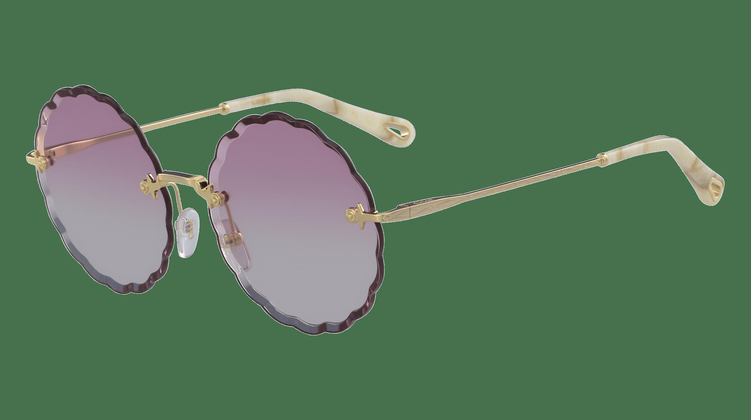 Runde Sonnenbrille von Cloé mit dunklen Applikationen am Rahmen, lila getönten Brillengläsern und goldenen Bügeln.