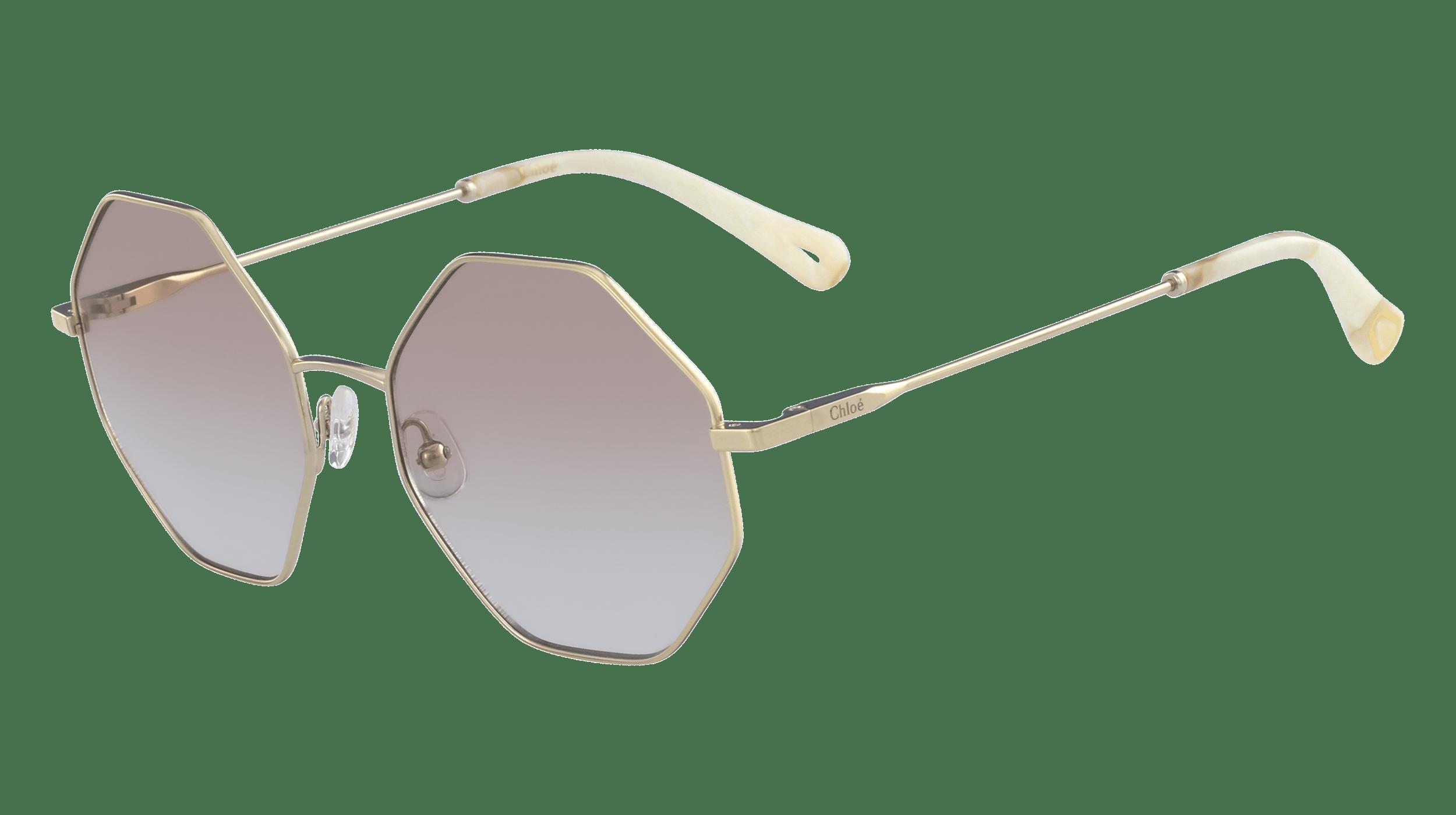 Nahaufnahme von einer Cloé Sonnenbrille mit eckigen Rahmen, getönten changierenden Brillengläsern und champagnerfarbenen Bügeln.