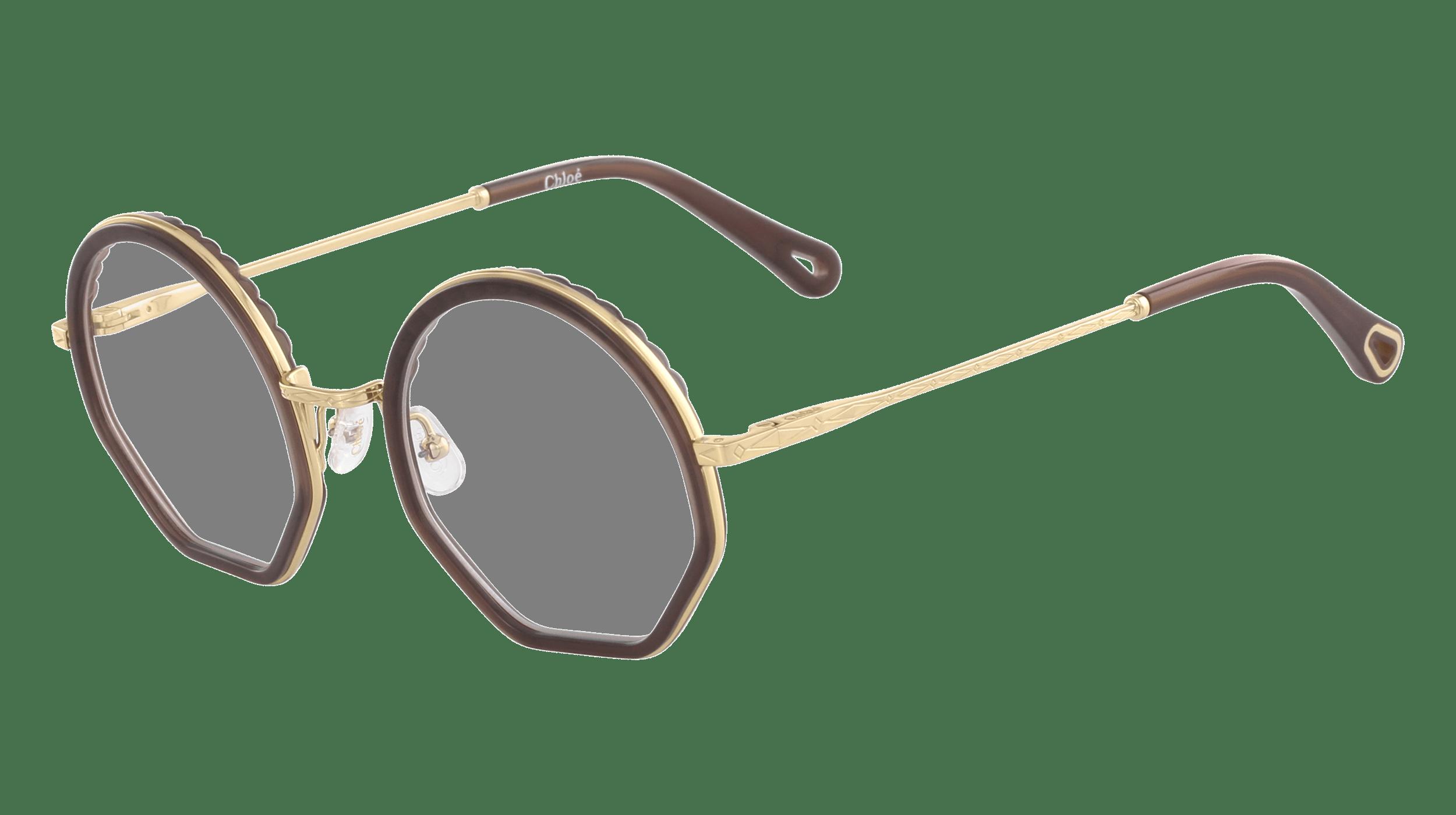 Cloé Korrekturbrille mit braunem Rahmen und Bügelenden und goldenen Bügeln.