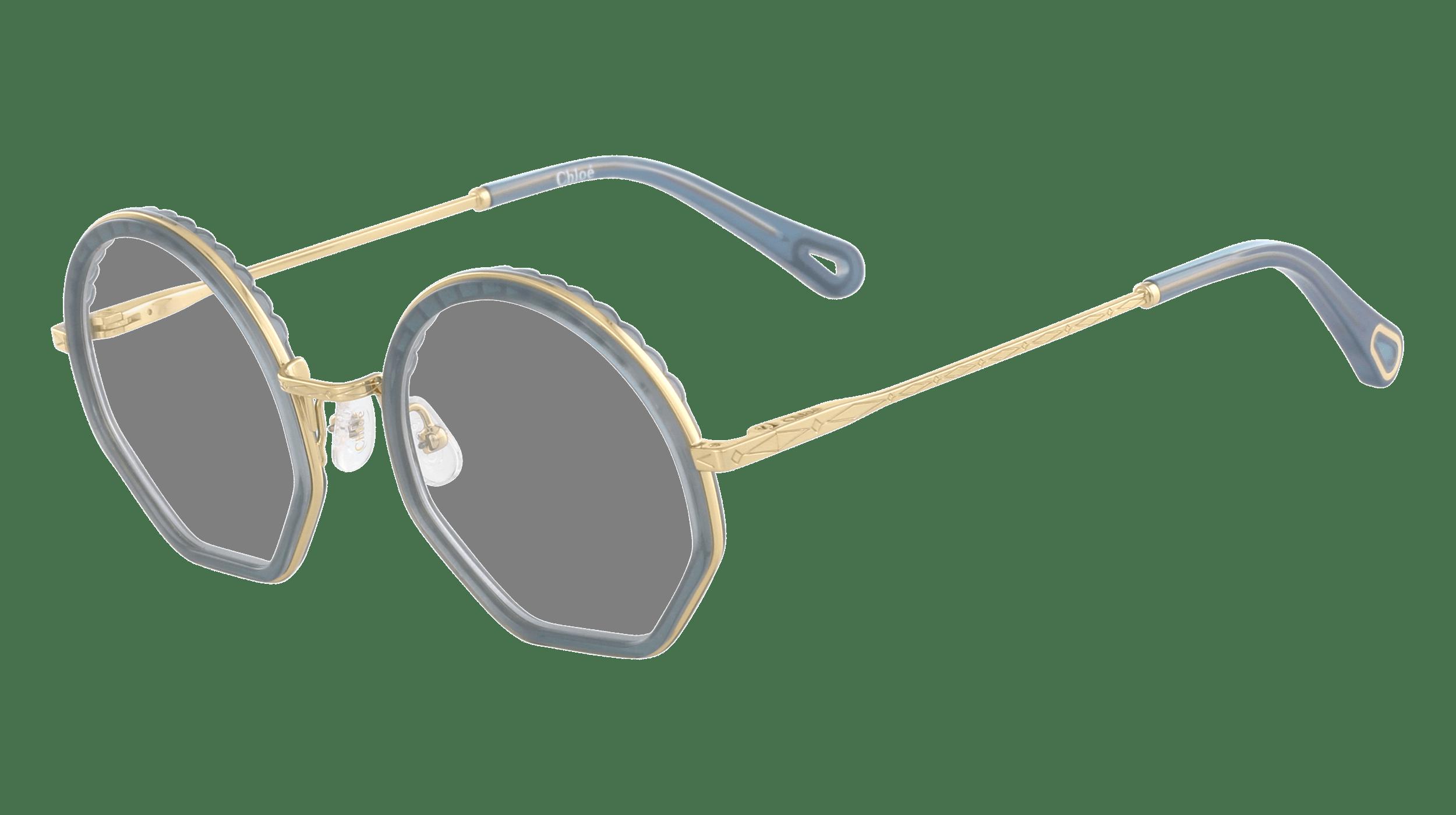 Cloé Korrekturbrille mit runden Brillengläsern und goldenem Gestell und blauen Akzenten an Brillenrahmen und Bügelenden.