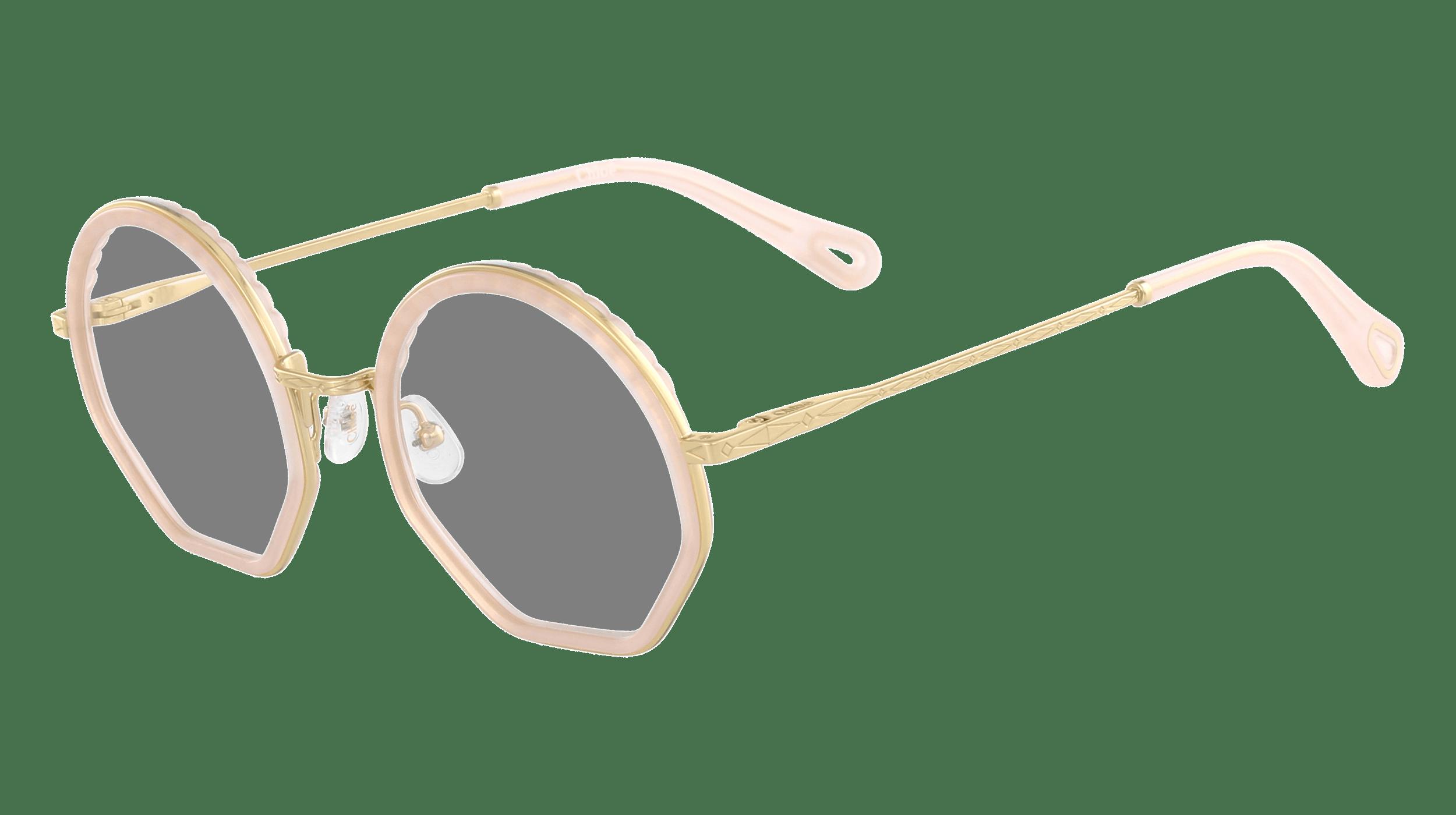 Nahaufnahme von einer Cloé Korrekturbrille mit goldenem Rahmen und Bügeln und ründlichen Brillengläsern.