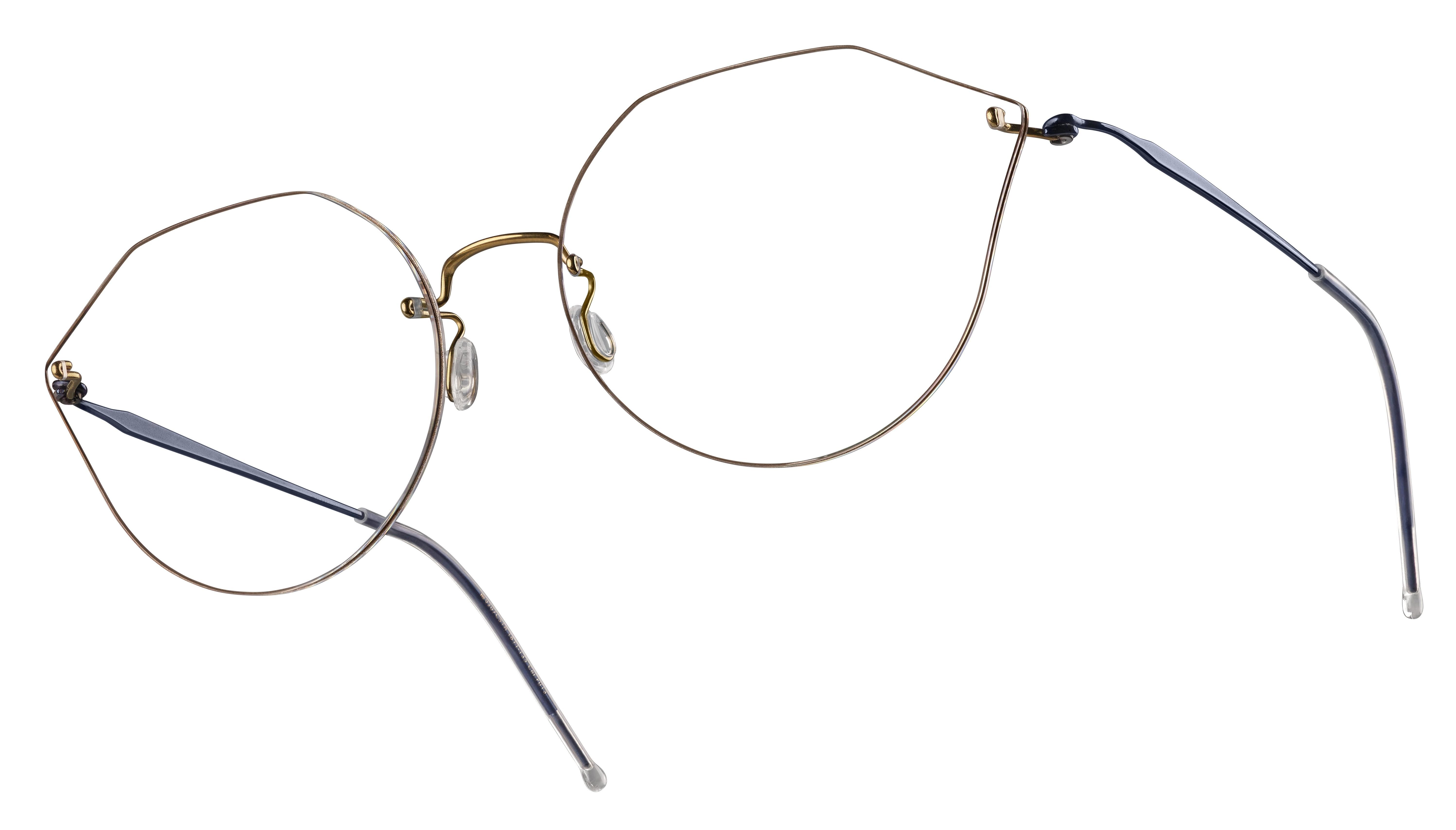 Korrekturbrille mit ausgefallenen Brillengläsern und dünne, silbernen Gestell.