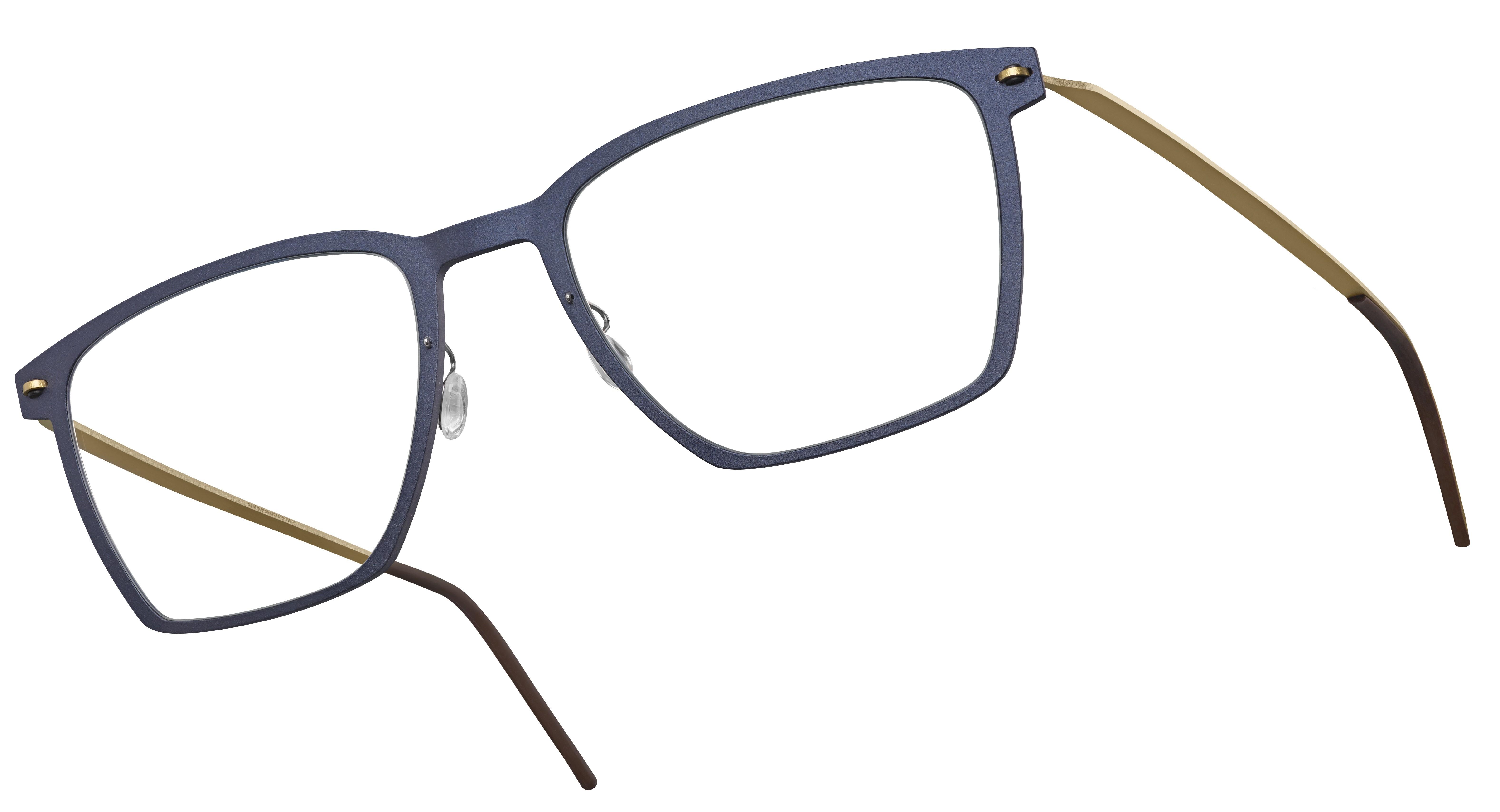 Korrekturbrille mit dunkelblauem Rahmen von Lindberg.